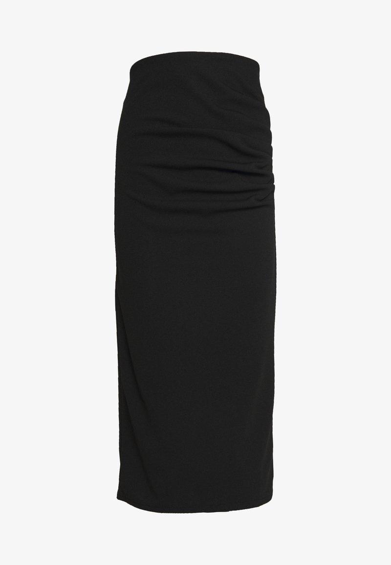 WAL G. - RUCHED MIDI SKIRT - Pencil skirt - black
