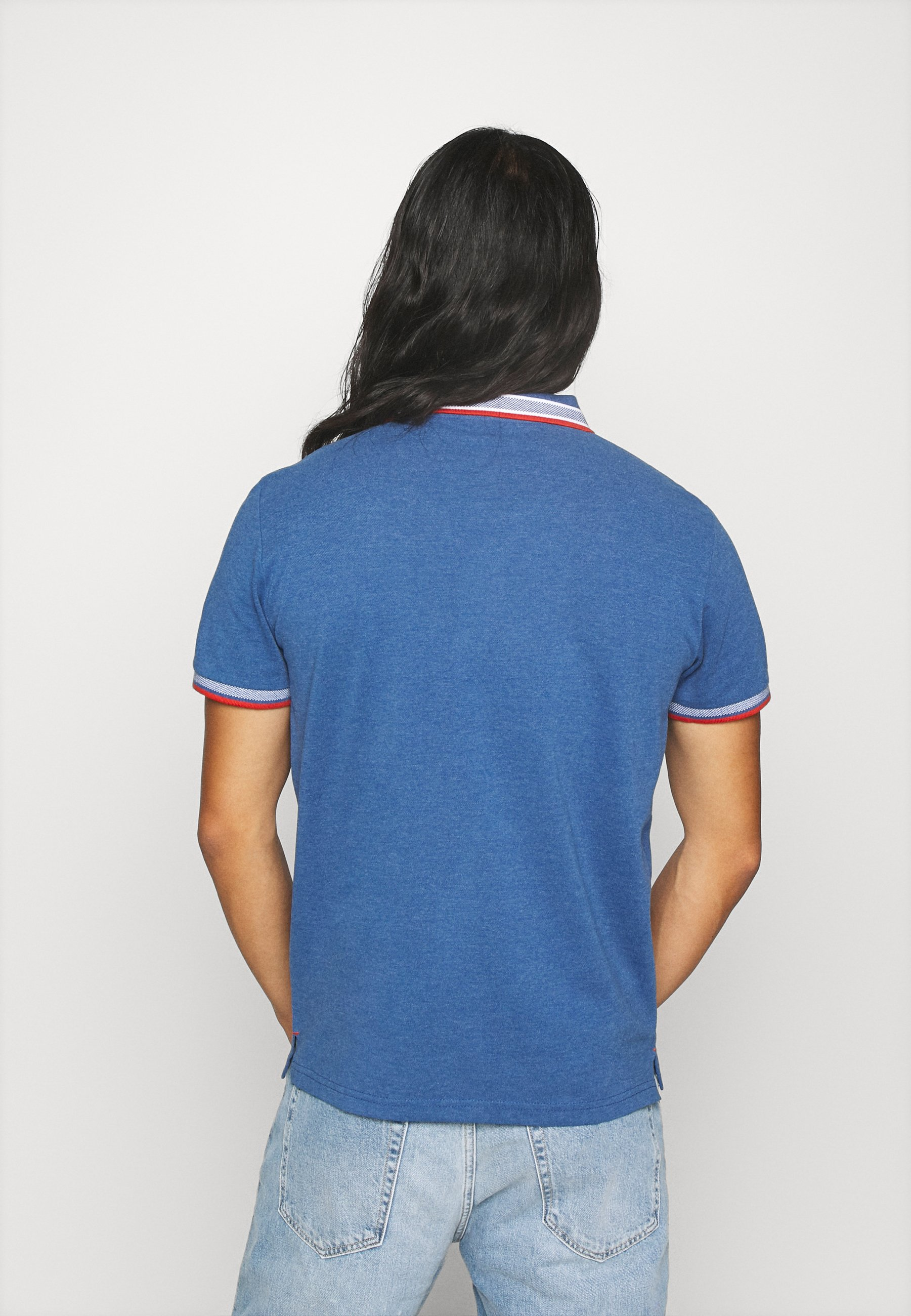 TOM TAILOR WORDING TIPPING - Polo shirt - estate blue white melange Ey3nV