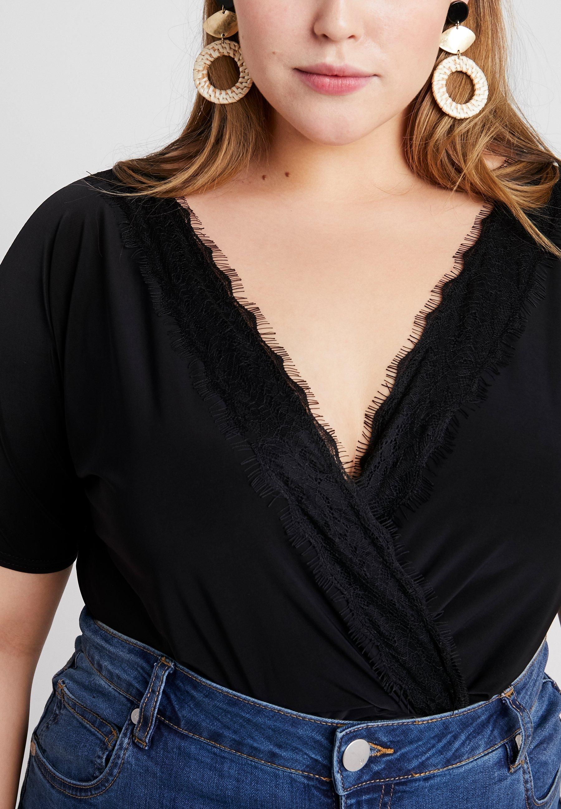 Women SHORT SLEEVE TRIM BODYSUIT - Print T-shirt