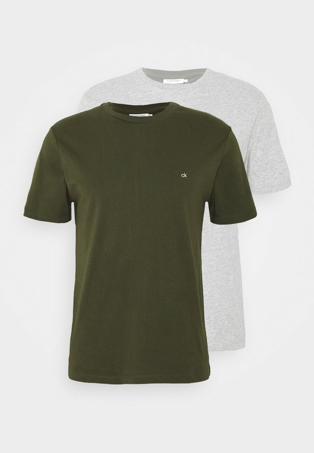 LOGO 2 PACK - Basic T-shirt - olive/mottled light grey