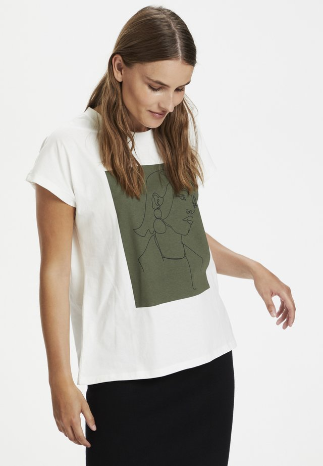 KAFALLY - Print T-shirt - chalk/grape leaf box print