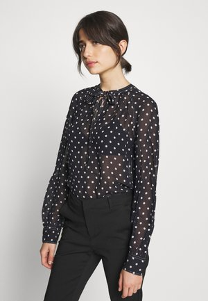 LONG SLEEVE SHIRT - Blouse - navy/white polka