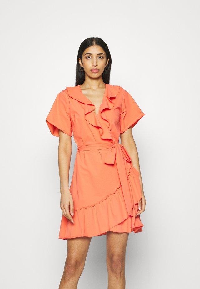 SUZY RUFFLE WRAP DRESS - Jersey dress - solar