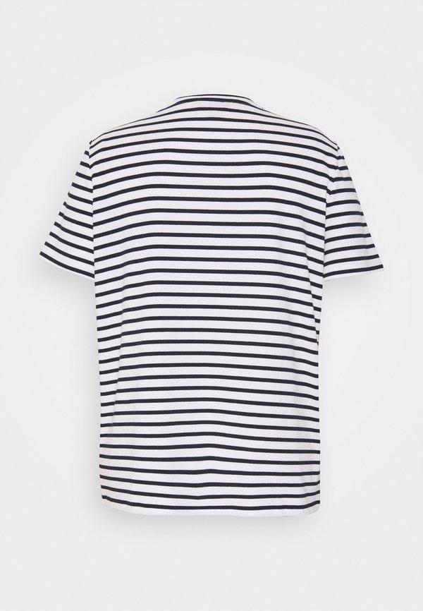 Lauren Ralph Lauren Woman KATLIN SHORT SLEEVE - T-shirt z nadrukiem - white/lauren navy W paski Odzież Damska GDYF QC 7
