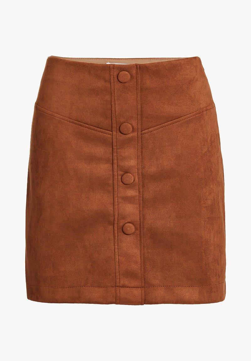 WE Fashion - MET SIERKNOOPSLUITING - A-line skirt - brown
