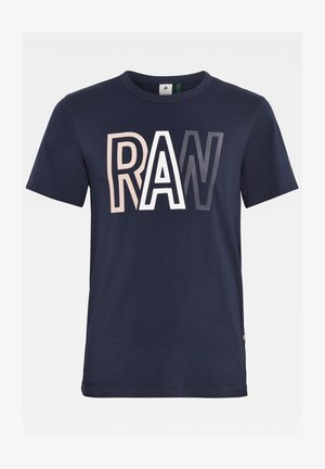 RAW ROUND SHORT SLEEVE - Print T-shirt - sartho blue