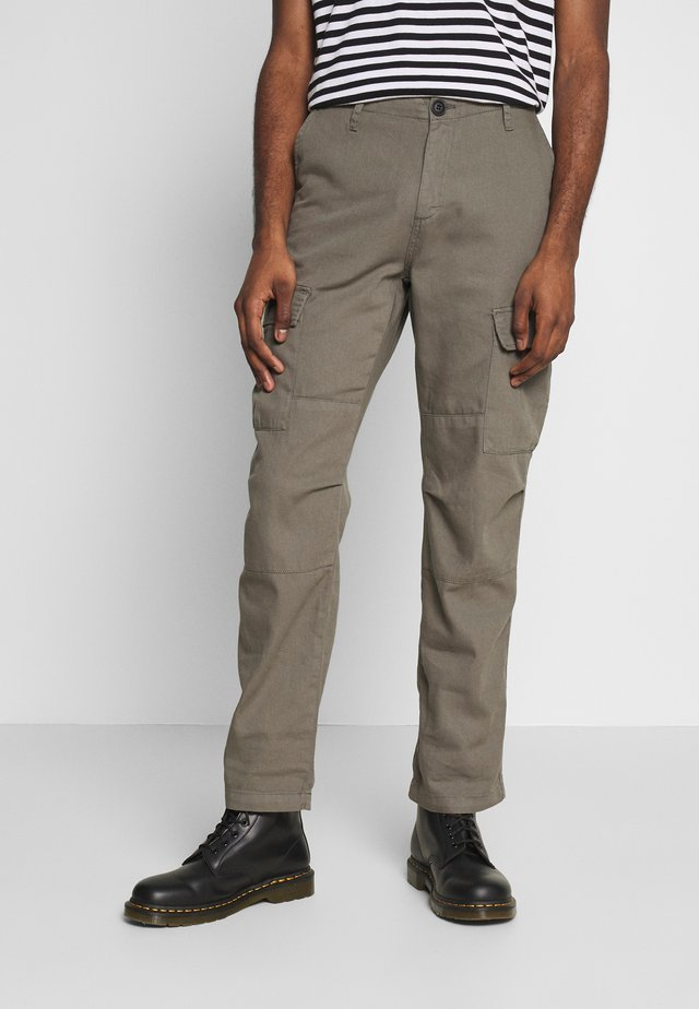WASHED STRAIGHT - Pantalon cargo - grey