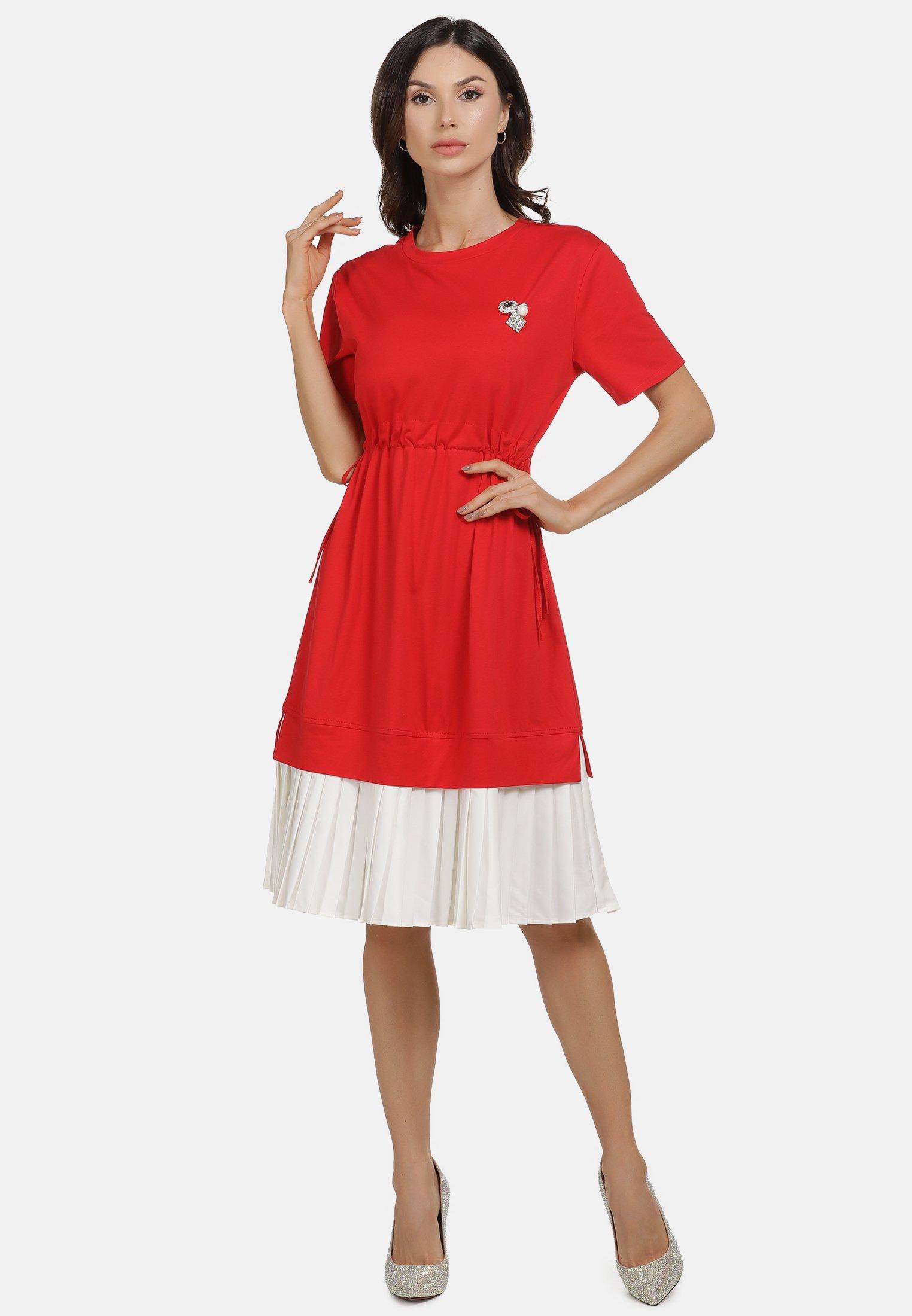 New Arrival Fashion Women's Clothing faina KLEID Day dress rot weiss d4lrZkRVr
