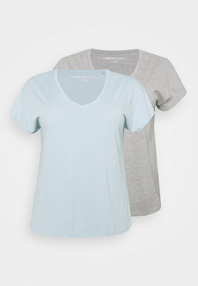 SLOUCH 2 PACK - T-paita - mint/grey marl