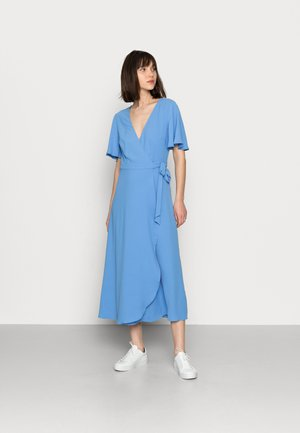 WRAP SOLID DRESS - Day dress - blue