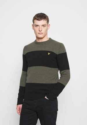 WIDE STRIPE JUMPER - Jumper - true black/olive