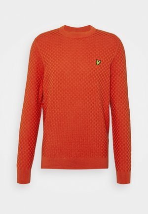 CHECKERBOARD CREW NECK JUMPER - Trui - burnt orange