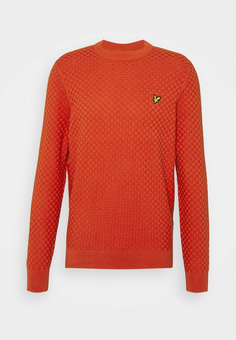 Lyle & Scott - CHECKERBOARD CREW NECK JUMPER - Stickad tröja - burnt orange