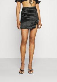 Gina Tricot - MINKY MINI SKIRT - Mini skirt - black - 0