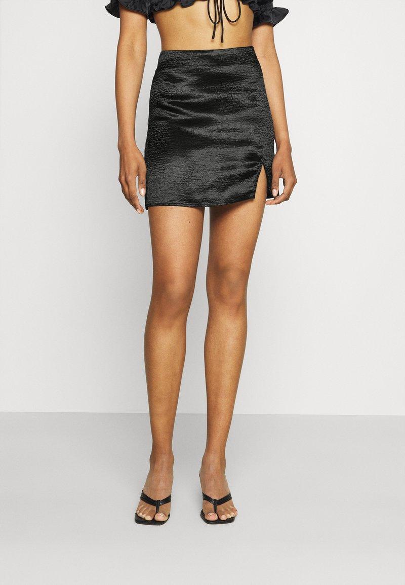 Gina Tricot - MINKY MINI SKIRT - Mini skirt - black