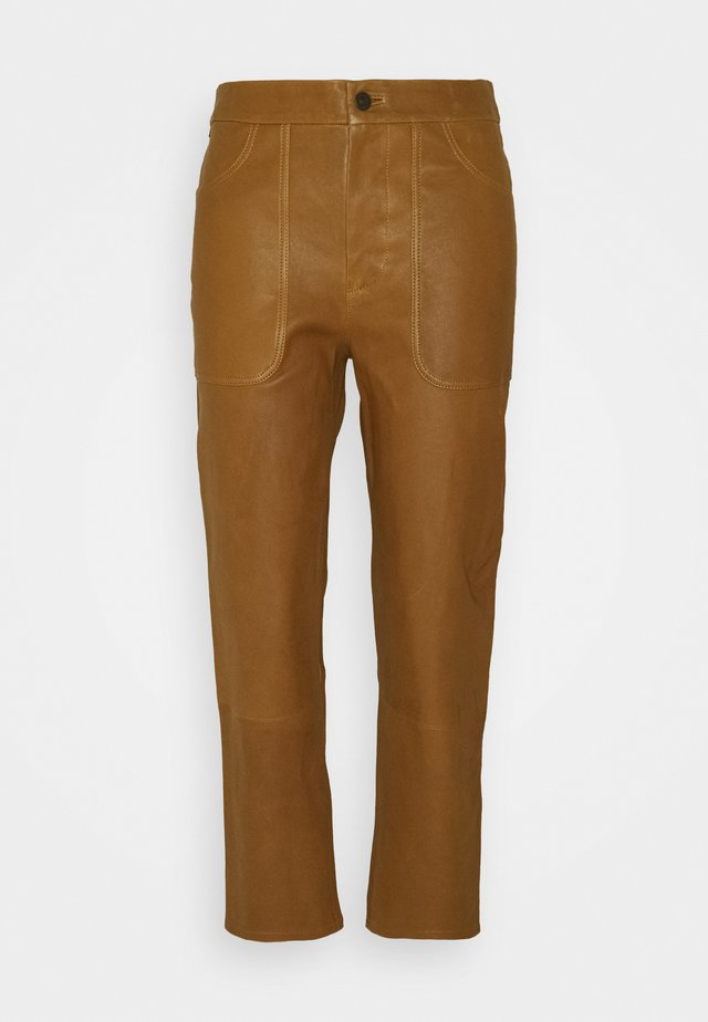 EMMA  - Leather trousers - golden glow
