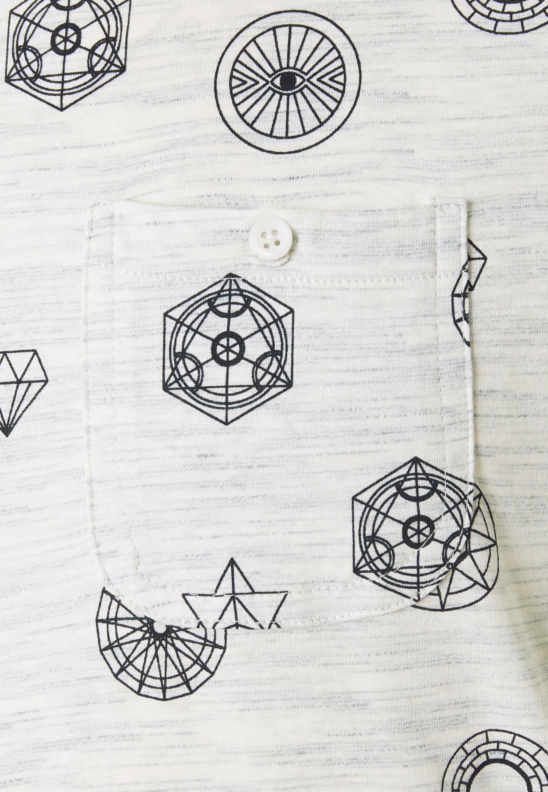 Brave Soul PORTAL - Print T-shirt - ecru/navy Lg1ea