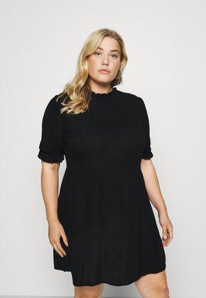 FRILL NECK SMOCK DRESS - Korte jurk - black