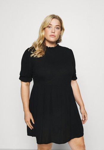 FRILL NECK SMOCK DRESS - Robe d'été - black