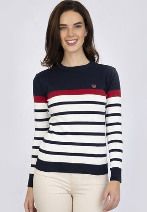 Jumper - navy red ecru