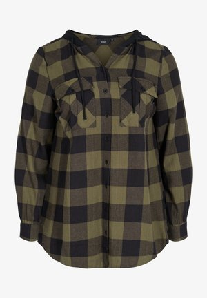 Button-down blouse - ivy green check