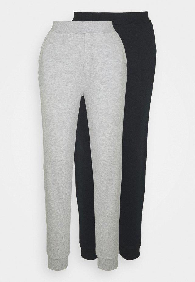 2er PACK - Basic regular fit joggers - Tracksuit bottoms - black/light grey