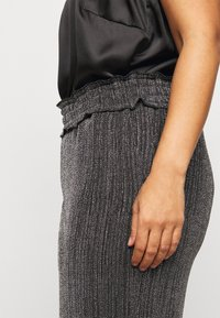 Vero Moda Curve - VMKAIDACOCO WIDE PANT - Trousers - black/silver - 5