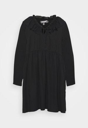 FRILL NECK LONG SLEEVE SMOCK DRESS - Robe d'été - black