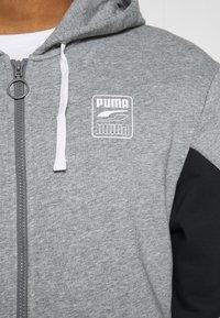 Puma - REBEL HOODIE  - Zip-up sweatshirt - medium gray heather - 5