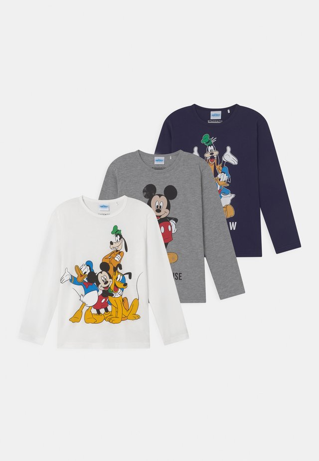 DISNEY MICKEY MOUSE MICKEY & FRIENDS 3 PACK - Langærmede T-shirts - dark blue/mottled grey/off-white