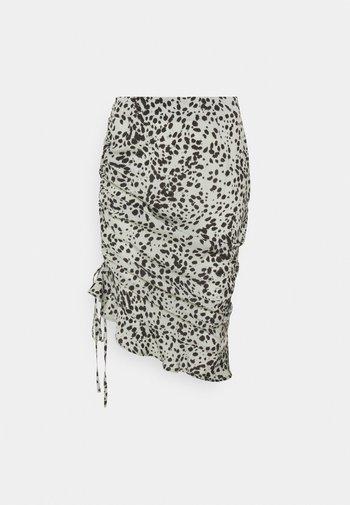 ANIMAL RUCHED MIDI SKIRT - Pencil skirt - sage