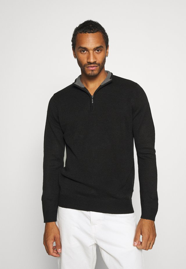 KESTER - Strickpullover - jet black/ dark grey marl