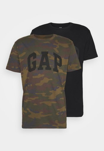 BASIC ARCH 2 PACK - Print T-shirt - true black