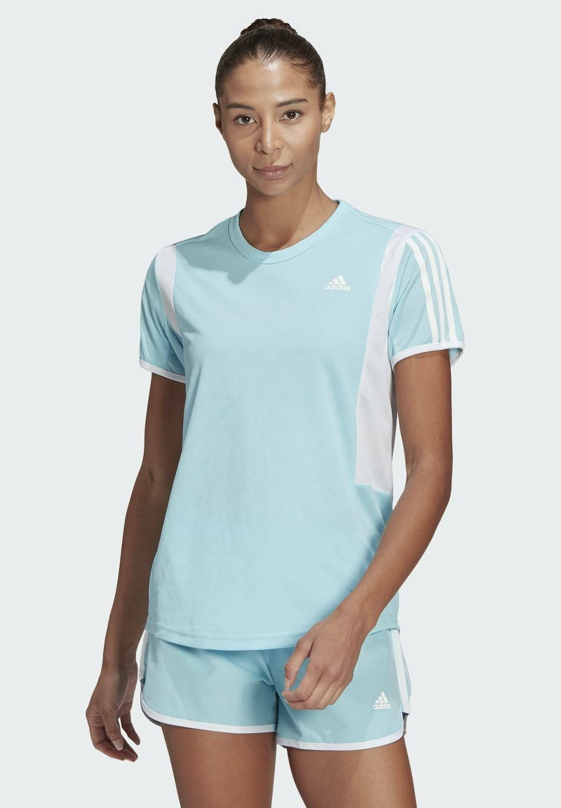 adidas Performance - STRIPES ITERATION T-SHIRT - T-shirts med print - blue
