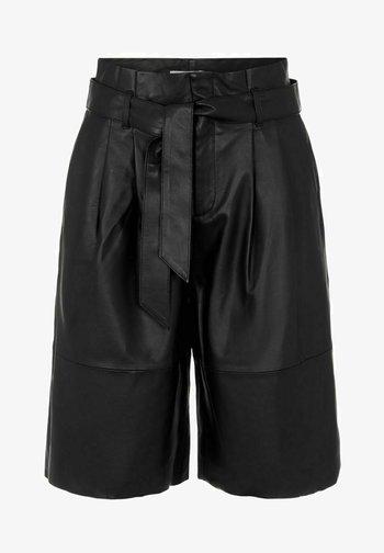 OBJDANA - Leather trousers - black
