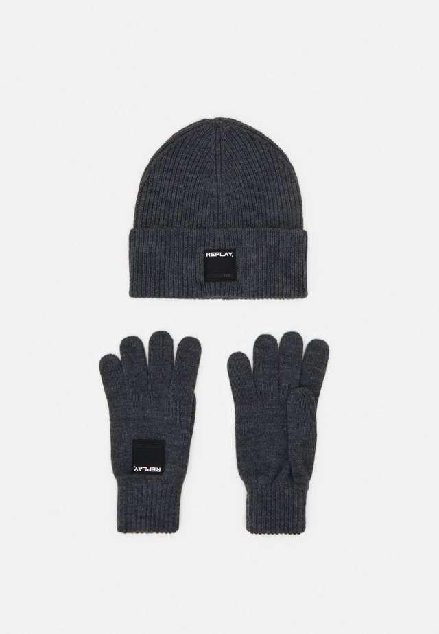 GLOVE HAT SET - Fingervantar - grey melange