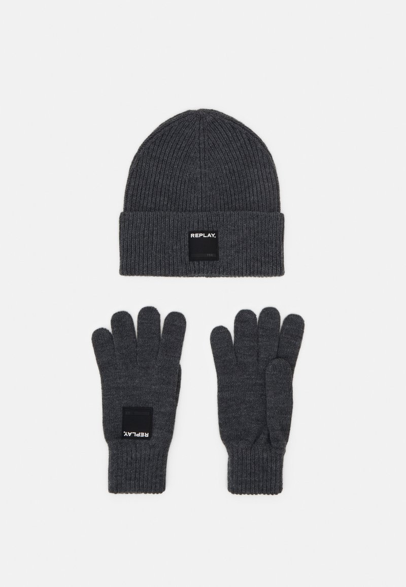 Replay - GLOVE HAT SET - Gloves - grey melange