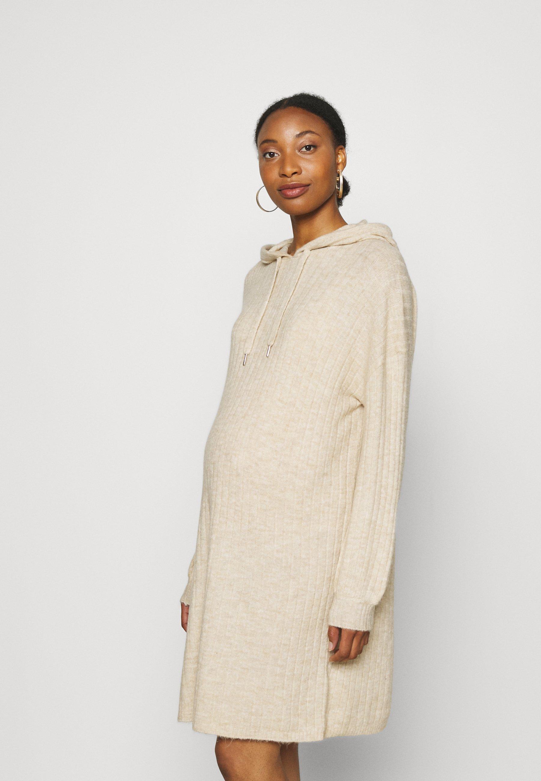 Women OLMKARINNA LONG HOOD DRESS  - Jumper dress - pumice stone