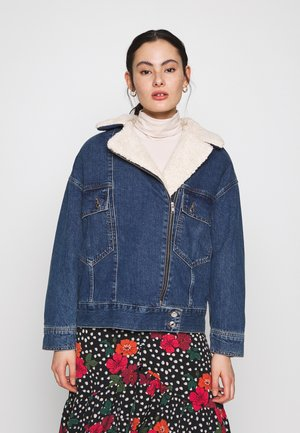 SLOUCHY BORG BIKER - Denim jacket - blue denim