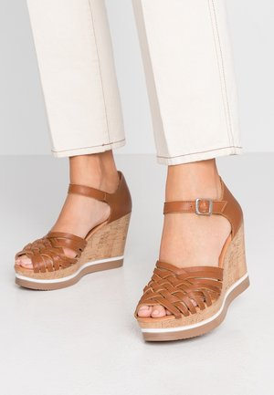 MARY - High heeled sandals - cognac