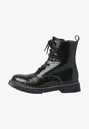 Lace-up ankle boots - olive croco