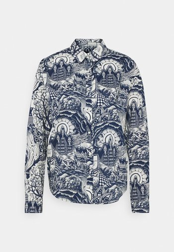 OVERSIZED SHIRT IN VARIOUS PRINTS - Button-down blouse - blue