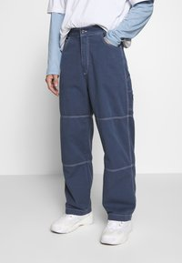 Kickers Classics - DRILL TROUSERS WITH TOPSTITCH - Tygbyxor - navy - 0