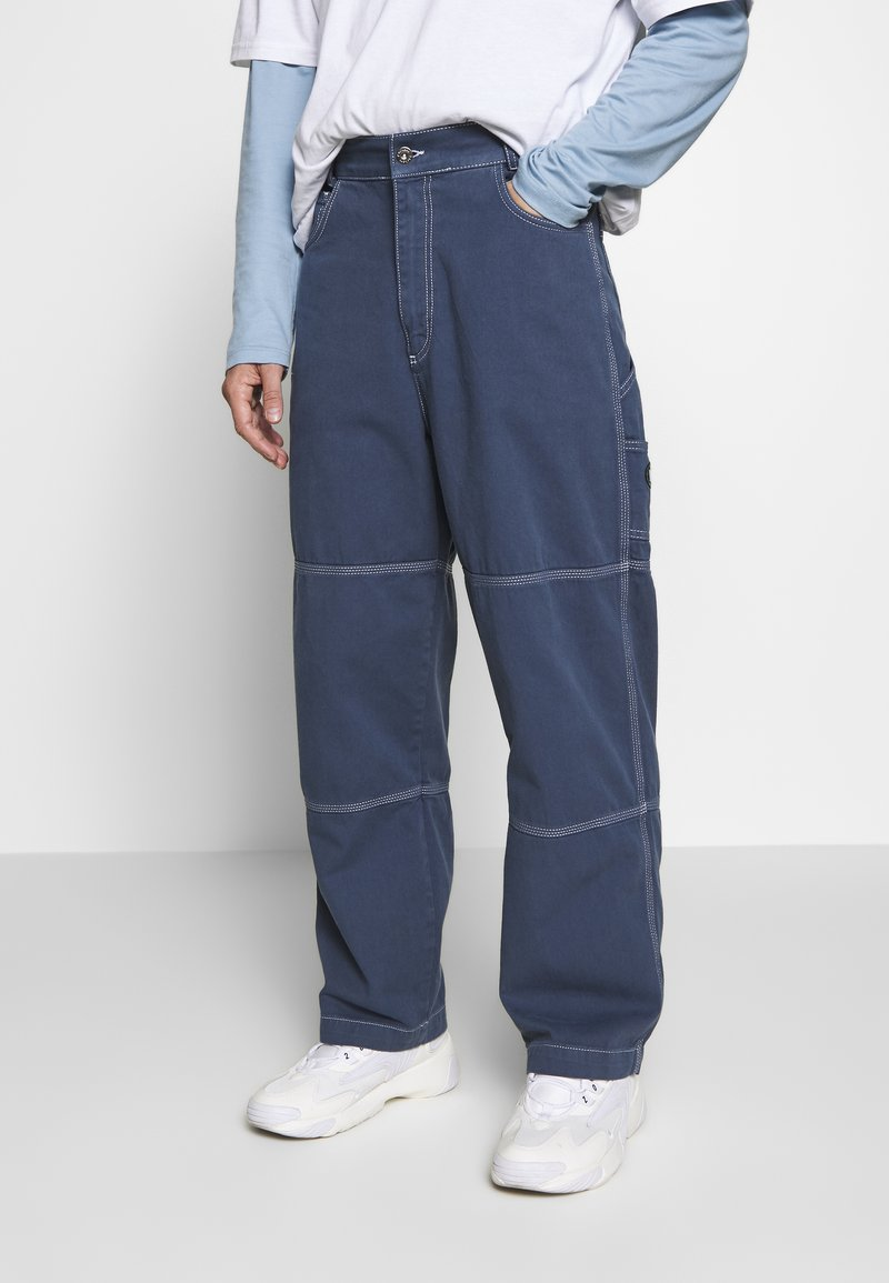 Kickers Classics - DRILL TROUSERS WITH TOPSTITCH - Tygbyxor - navy