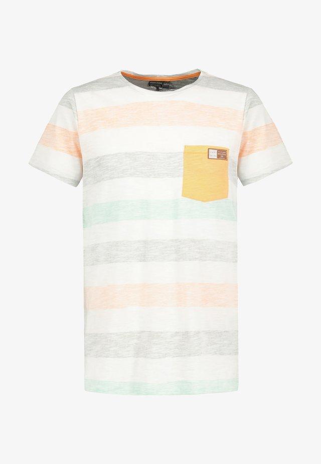 MIT STREIFEN-PRINT - Print T-shirt - orange