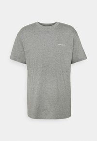 SCRIPT EMBROIDERY - Basic T-shirt - grey heather/white