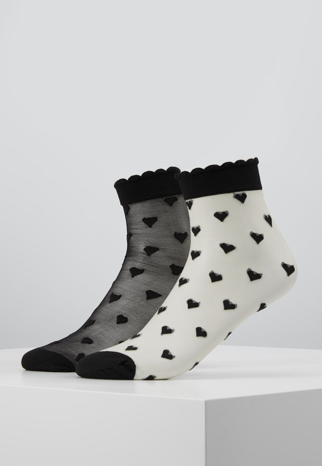 DAGMAR SMALL HEARTS 2 PACK - Chaussettes - white/black/black/black