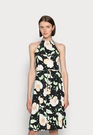 HALTER NECK BRAIDED BELT DRESS  - Žerzejové šaty - black/white/green