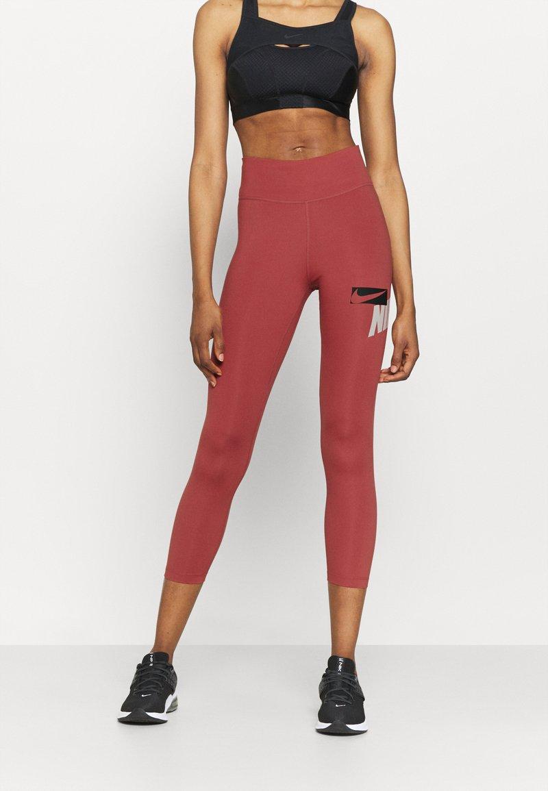 Nike Performance - ONE CROP - Tights - canyon rust/pink glaze/black