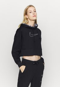 Nike Performance - ALL CROP - Jersey con capucha - black/white - 0